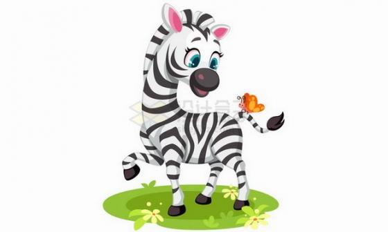 在草地上和蝴蝶嬉戏的卡通斑马png图片免抠矢量素材