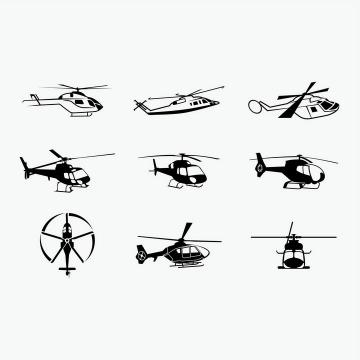 9款黑白色直升飞机图案图片免抠矢量素材