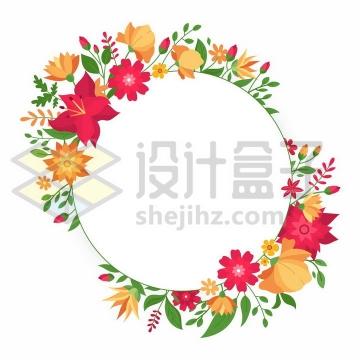 各种红色橙色的鲜花和花骨朵叶子组成的花环标题框文本框png图片免抠矢量素材