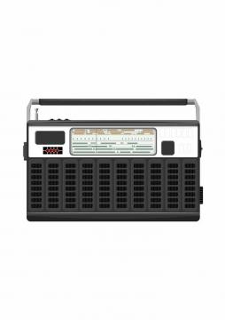 带把手的复古收音机老式家电png图片免抠矢量素材