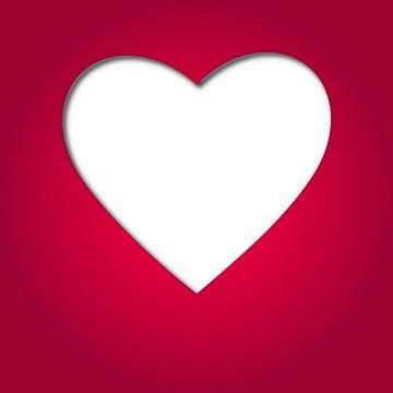 红色背景空心的白色心形符号图案png图片免抠eps矢量素材
