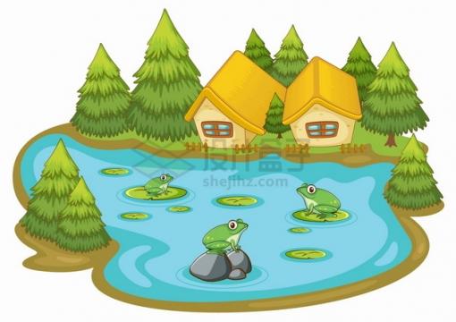 卡通池塘小青蛙和岸边的树林小木屋png图片素材