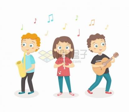 正在演奏乐器的卡通年轻人音乐乐队png图片免抠eps矢量素材