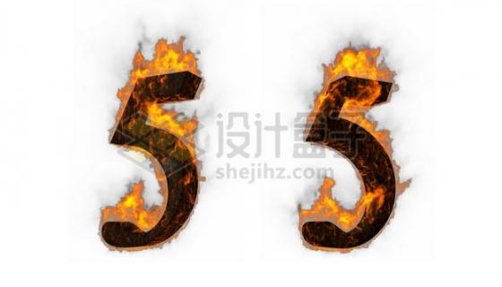C4D风格燃烧着火焰的3D立体数字五5艺术字体502010psd/png图片素材