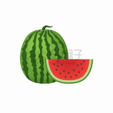 完整的西瓜和切块的西瓜美味水果png图片免抠矢量素材