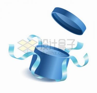 打开的蓝色礼品盒和彩带506382png矢量图片素材