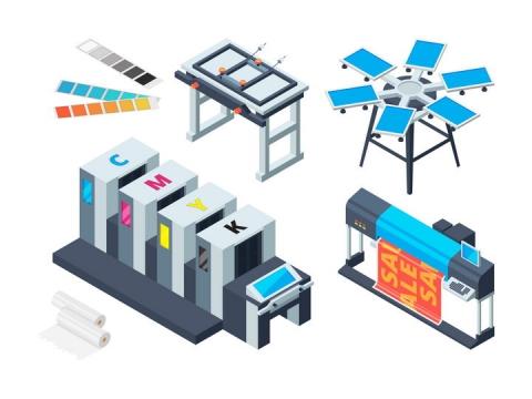 2.5D风格彩色印刷机工作示意图图片免抠矢量素材