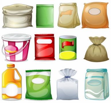各种粮食食物包装袋png图片免抠矢量素材