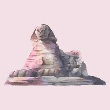涂鸦水彩画风格埃及旅游景点狮身人面像免扣图片素材