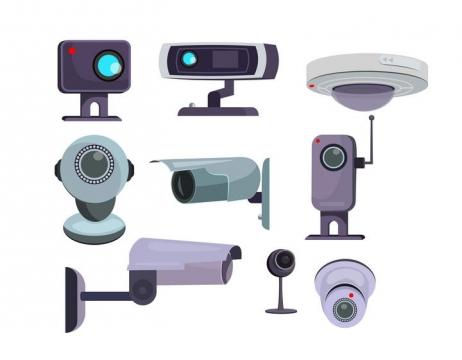 9款各种风格的监控摄像头图片免扣素材