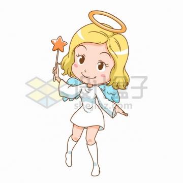拿着魔术棒的卡通小仙女插画png图片素材