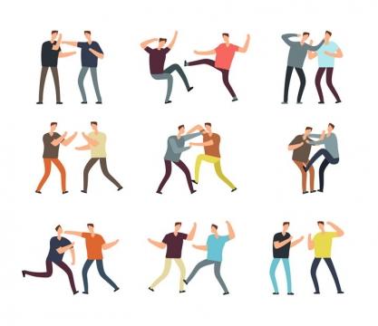 9个扁平化风格正在打架斗殴的年轻人图片免抠素材