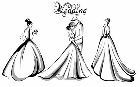手绘素描风格穿婚纱的新娘和新郎接吻结婚订婚png图片免抠eps矢量素材