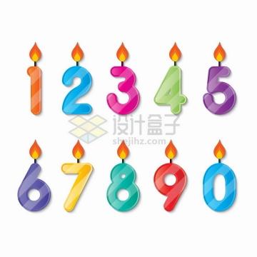 燃烧小火苗的生日数字蜡烛png图片免抠矢量素材