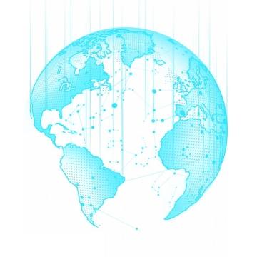 天蓝色点线组成的科幻风格地球模型335215png图片素材