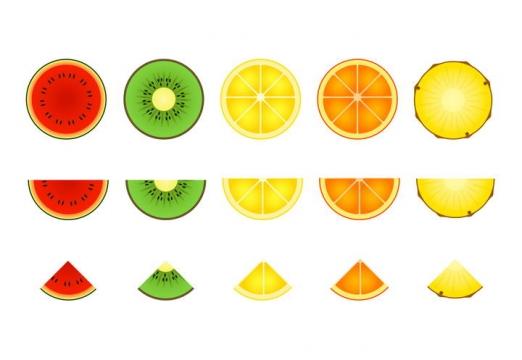 西瓜猕猴桃橙子菠萝等各种水果横切面图片免扣素材