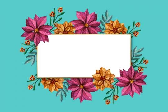 彩绘风红色和橙色花朵与树叶装饰的长方形金边边框文本框图片免抠矢量素材