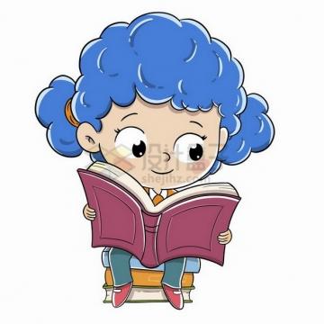 坐在书堆上看书的卡通小女孩png图片免抠矢量素材