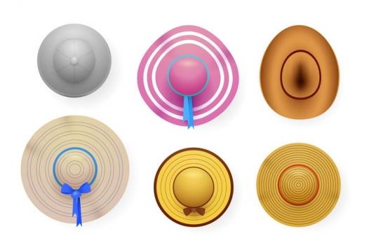 6款俯视视角的夏天太阳帽遮阳帽图片免扣素材
