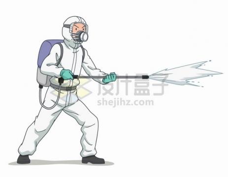 正在喷洒消毒液的卡通医护人员png图片素材