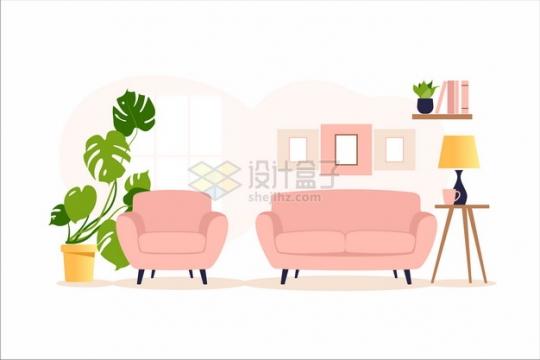 卡通单人和双人沙发家庭装修布景扁平插画png图片素材