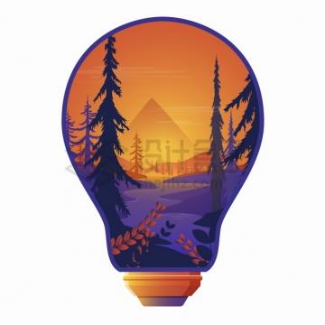 创意抽象电灯泡中的森林河流风景png图片素材