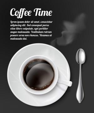 俯视视角的一杯冒着热气的咖啡和旁边的银色勺子图片免扣素材