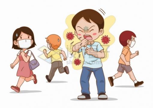 咳嗽的年轻人和逃跑的人群害怕被感染png图片素材