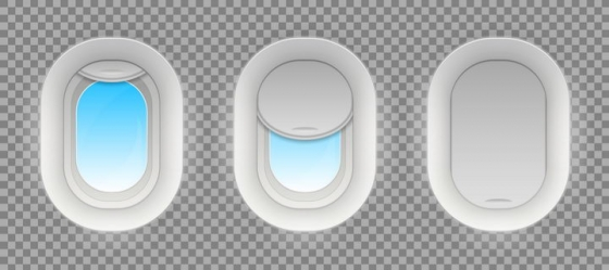 3款银灰色飞机舷窗窗户效果图片免抠素材