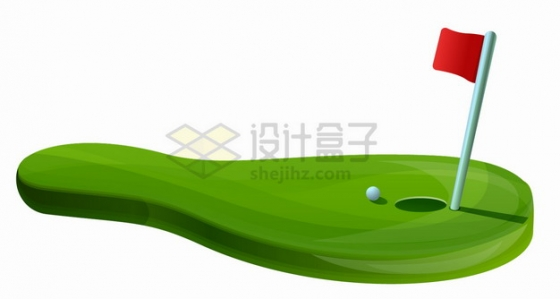 卡通高尔夫球场和高尔夫旗杆体育运动png图片素材