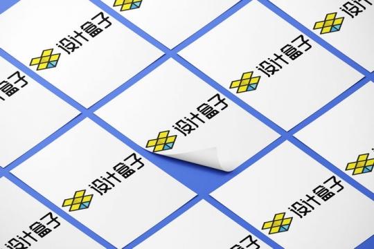 整齐排列其中一张掀开一角的A4纸白纸展示样机图片设计模板素材