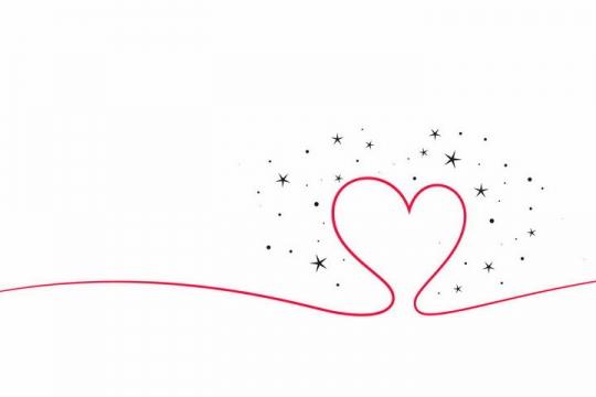 红色线条形成了一个红心心形符号图案png图片免抠eps矢量素材