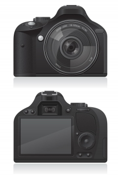 逼真的单反相机数码相机正反面照免抠矢量图片素材