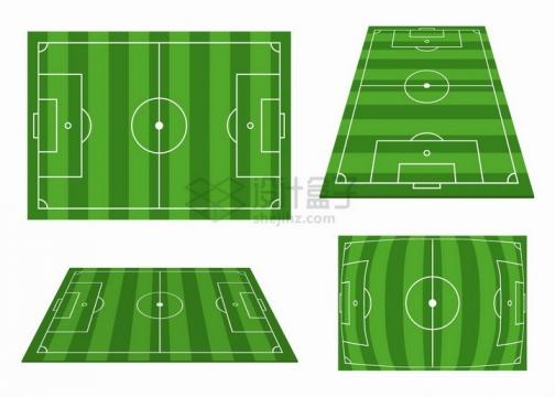 足球场绿茵场的4个不同角度png图片素材