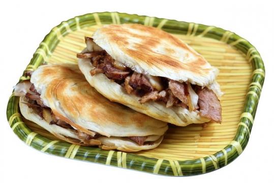 放在竹篮中的肉夹馍美味小吃930821png图片素材