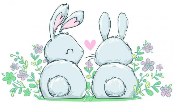 两只可爱的卡通小兔子情侣情人节图片免抠矢量素材