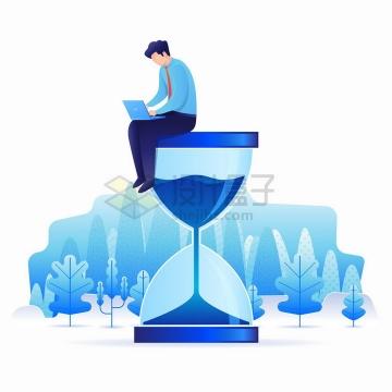 坐在沙漏上用笔记本电脑的蓝色商务人士工作时间安排png图片免抠矢量素材