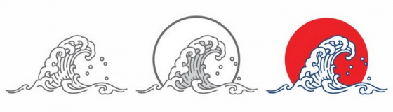 三款线条中国风海浪波浪图案png图片免抠素材