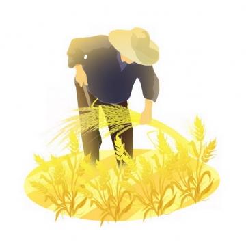 芒种农民收割小麦子插画png免抠图片素材