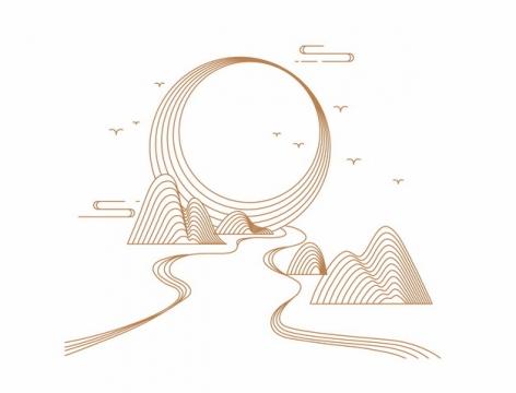 金色线条中国风太阳高山河流风景图580621png矢量图片素材