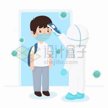 卡通医生用额温计测量路人体温新型冠状病毒预防png图片素材