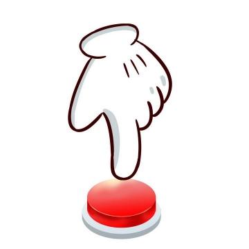 卡通风格一只手正在按红色按钮图片免抠素材