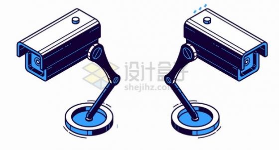 蓝色摄像头监控设备彩绘插画png图片素材