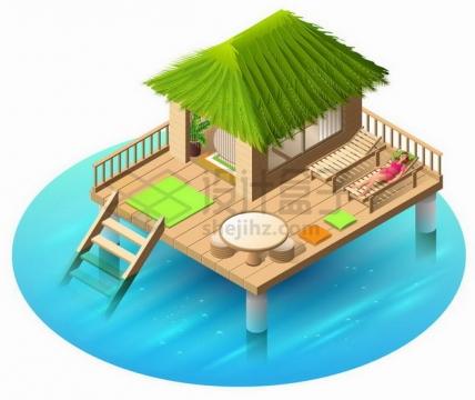 2.5D风格蔚蓝色海水上的小木屋热带海岛旅游559246png矢量图片素材
