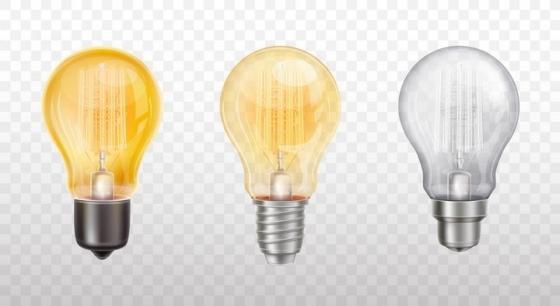 三款不同颜色的电灯泡白炽灯泡图片免抠素材