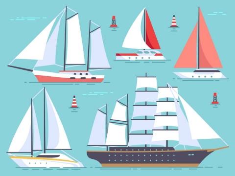 各种扁平化风格的帆船船舶图片免抠素材