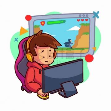 卡通男孩坐在电脑面前玩网络游戏手绘插画png图片素材