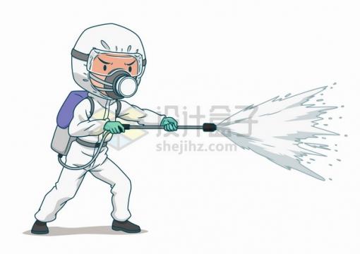 正在喷洒消毒液身穿防护服的卡通医护人员png图片素材
