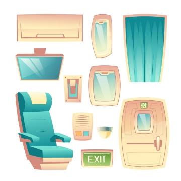 卡通插画风格镜子空调按摩椅等家庭用品图片免抠素材