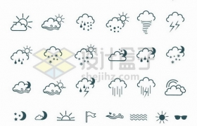 36款天气预报线条图标373986png矢量图片素材